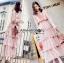 Jill Printed Layered Pink Chiffon Dress thumbnail 5