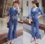 เสื้อผ้าเกาหลี พร้อมส่งจัมป์สูทผ้าเดนิมผูกโบที่เอวสไตล์ลำลอง thumbnail 8