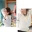 เสื้อผ้าเกาหลี พร้อมส่งเสื้อเชิ๊ตเนื้อผ้า chiffon polyester ตัดแต่งลูกไม้วิคทอเรียช่วงอก thumbnail 3