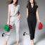 เสื้อผ้าเกาหลี พร้อมส่ง Fashionista V-Cross Jumpsuite thumbnail 1