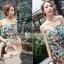 เสื้อผ้าเกาหลี พร้อมส่ง เดรสเกาะอก เนื้อผ้าcottonนุ่มนิ่มพิมพ์ลายดอกไม้ใบไม้คมชัด thumbnail 10