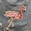 เสื้อผ้าแฟชั่นพร้อมส่ง ยีนสั้นเองสูง ปักลายฟามิงโก้ thumbnail 3