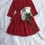 Mini Layered Dress Red Blood&White Classic Lace hem thumbnail 9