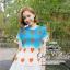 ( พร้อมส่ง) ชุดเข้าเซ็ทเสื้อกับกระโปรงลุคเก๋ๆค่ะ mix&match ได้อีกหลายสไตล์ เสื้อลายท้องฟ้าพิมพ์ลายหัวใจ พร้อมกระโปรงทรง A-line จีบเดรปสวย thumbnail 9