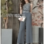 Donna Smart Casual Dark Grey Lace and Crepe Jumpsuit with Belt thumbnail 1
