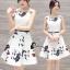 ชุดเดรสเกาหลี พร้อมส่งมินิเดรสผ้าซาตินแขนกุดสีขาว thumbnail 3