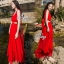 Ribbon Shoulder Sexy Waist Back Red Hot Maxi Dress thumbnail 1