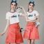 เสื้อผ้าเกาหลี พร้อมส่งCoCo Shirt + Skirt Pant Set thumbnail 3