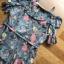 ชุดเดรสเกาหลีพร้อมส่ง เดรสผ้าชีฟองพิมพ์ลายดอกไม้ทรงเปิดไหล่ตกแต่งระบาย thumbnail 11