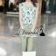 เสื้อผ้าเกาหลี พร้อมส่งPink-mint Bow tie flank waist chic set thumbnail 4