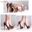 รองเท้าคัชชูส้นสูงเปิดหน้าเล็กน้อย ดีไซน์งานผ้าซาติน ลายเสือ สวยไฮโซ ใส่ออกงาน เลิศๆ เลยจ้า สูง 14 ซม เสริมหน้า 4 ซม  thumbnail 5