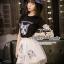 เสื้อผ้าเกาหลี พร้อมส่งเซ็ทเสื้อกับกระโปรงแบรนด์เนม ดีเทลแต่งรูปน้องแมวน่ารัก thumbnail 10