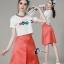 เสื้อผ้าเกาหลี พร้อมส่งCoCo Shirt + Skirt Pant Set thumbnail 6