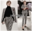 Valentina Sophisticated Chic Black and White Checked Suit Set thumbnail 1