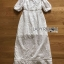 Sofie Modern Vintage Embroidered and Laser-Cut White Cotton Long Dress thumbnail 6
