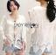 เสื้อผ้าเกาหลี พร้อมส่งเสื้อผ้าคอตตอนปักลายตกแต่งลูกไม้และเชือกผูก thumbnail 7