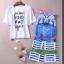 เสื้อผ้าเกาหลี พร้อมส่ง D&G SET กระโปรงทรงเอวสูง ปริ้นลายD&G สีคมชัด+เสื้อพื้นขาว thumbnail 3