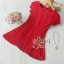 ชุดเดรสเกาหลี พร้อมส่ง เดรสลูกไม้สีแดงสด ผ้าเกรดดี thumbnail 3