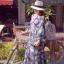 ชุดเดรสเกาหลี พร้อมส่ง แม็กซี่เดรสแขนยาวเนื้อผ้าชีฟองพิมพ์ลายดอกไม้โทนขาวเทาสีคลาสสิก thumbnail 3