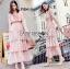 Jill Printed Layered Pink Chiffon Dress thumbnail 3