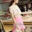 เสื้อผ้าเกาหลี พร้อมส่งเซ็ตเสื้อ+กระโปรง ตัวเสื้อผ้าchiffonพิมพ์ลายดอกสวยเก๋ thumbnail 7