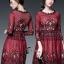 ชุดเดรสเกาหลี พร้อมส่งRed Wine Lace Luxury Dress thumbnail 1
