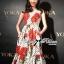 ชุดเดรสเกาหลี พร้อมส่งเดรสแขนกุดลายจุดพิมพ์ลายดอกไม้สีแดงสไตล์Dolce & Gabbana thumbnail 2
