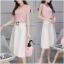 เสื้อผ้าเกาหลี พร้อมส่งDestiny Pastel Pink Top + Pearl Skirt thumbnail 5
