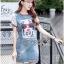 ชุดเดรสเกาหลี พร้อมส่งเดรสผ้าเดนิมพิมพ์ลายสไตล์สตรีทสุดเก๋ thumbnail 3