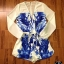 เสื้อผ้าแฟชั่น พร้อมส่ง ต้อนรับ Summer ด้วย Hot Playsuit จั้มสูทขาสั้นแขนยาวพิมพ์ลายกล้วยไม้สีน้ำเงิน ดีเทลเนื้อผ้า ชีฟอง silk100% thumbnail 2