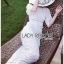 Sofie Modern Vintage Embroidered and Laser-Cut White Cotton Long Dress thumbnail 5