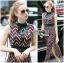Taylor Red-Green Graphic Printed Sleeveless Maxi Dress thumbnail 5