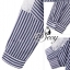 เสื้อผ้าเกาหลี พร้อมส่ง เชิ้ตลายทางฟ้าขาวแขนยาวคอปก thumbnail 7