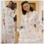 Danielle Flower Printed Navy Blue Chiffon Ruffle Maxi Dress thumbnail 2
