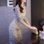 ชุดเดรสเกาหลีพร้อมส่ง ชุดLong dress ลูกไม้สีเทาเรียบหรู thumbnail 3