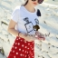 ( พร้อมส่ง) Set Perfume Print Chanel Style Diamond Fernish Top match with Dotty Red Skirt by Seoul Secret thumbnail 4