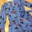 เสื้อผ้าแฟชั่นพร้อมส่ง Jumpsuit แขนระบายสีฟ้าลายใบไม้ฟรุ้งหริ่ง thumbnail 3