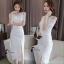 ชุดเดรสเกาหลีพร้อมส่ง Dress ลูกไม้สีขาวงานตัดเย็บอย่างดี thumbnail 7
