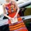 ชุดเดรสเกาหลี พร้อมส่งเดรสตัวยาว สีส้มโทนสดใส thumbnail 4