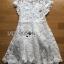 Gabriela Crystal Embellished Flower White Lace Dress thumbnail 6
