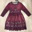 ชุดเดรสเกาหลี พร้อมส่งRed Wine Lace Luxury Dress thumbnail 9