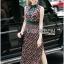 Taylor Red-Green Graphic Printed Sleeveless Maxi Dress thumbnail 4