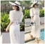 Sofie Modern Vintage Embroidered and Laser-Cut White Cotton Long Dress thumbnail 2