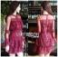 Eva Ruffle Crimson Red Lace Mini Dress thumbnail 2