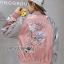 เสื้อผ้าเกาหลี พร้อมส่งบอมเบอร์แจ๊กเก็ตปักลายนกสีชมพูสไตล์สปอร์ต thumbnail 14
