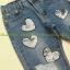 เสื้อผ้าเกาหลีพร้อมส่ง กางเกงยีนส์ขายาว ผ้าด้าน ปักเลื่ยมลายหัวใจสีเงิน thumbnail 4