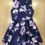 ชุดเดรสเกาหลี พร้อมส่งMini Dress ผ้าซาตินสีน้ำเงินเข้มปริ้นลายดอกไม้สีชมพู thumbnail 7