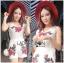 เสื้อผ้าเกาหลี พร้อมส่งเพลย์สูทขาสั้นผ้าลูกไม้ปักดอกกุหลาบสีแดง3D thumbnail 10