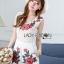 เสื้อผ้าเกาหลี พร้อมส่งเพลย์สูทขาสั้นผ้าลูกไม้ปักดอกกุหลาบสีแดง3D thumbnail 1