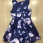 ชุดเดรสเกาหลี พร้อมส่งMini Dress ผ้าซาตินสีน้ำเงินเข้มปริ้นลายดอกไม้สีชมพู thumbnail 8